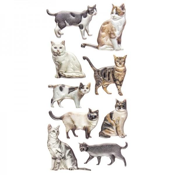 Relief-Sticker, Katzen, 17,5cm x 9cm