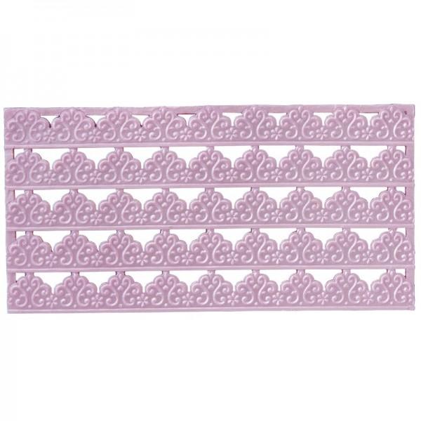 Wachs-Bordüren auf Platte, Spitze, geprägt, hellflieder, 20cm, 5 Stück