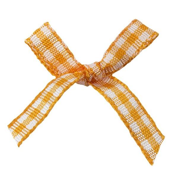 Schleifen, kariert, Bandbreite 7mm, 50 Stück, orange/weiß