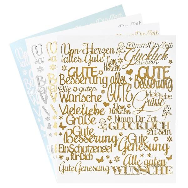 """Stickerbogen """"Handlettering Art"""", Gute Wünsche, gold, silber, weiß, 20cm x 23cm, 4 Bogen"""