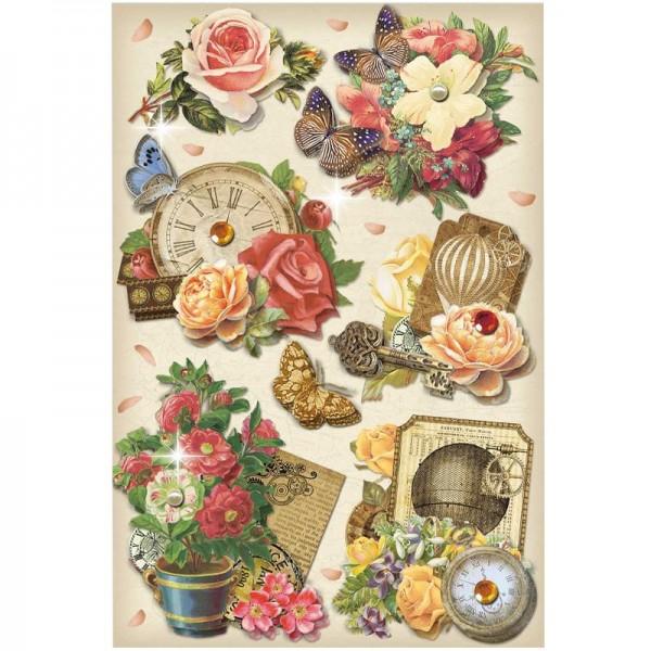 3-D Stickerbogen, Vintage-Uhren 7, 12,7 x 18,8 cm