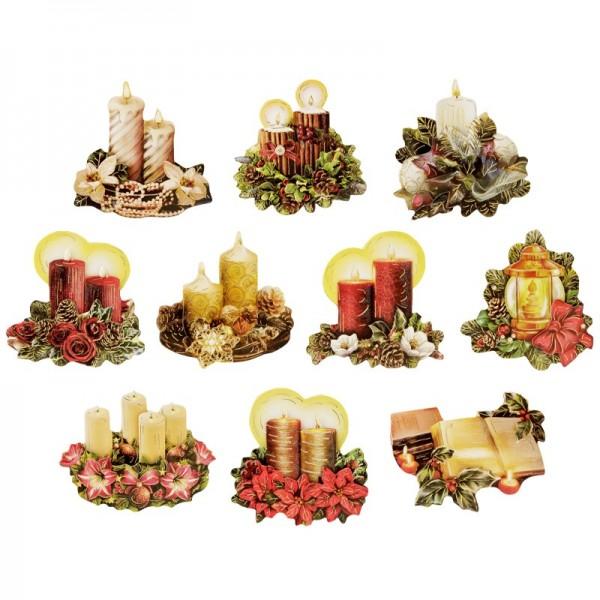 3-D Motive, Weihnachtsgestecke, Gold-Gravur, 6-8cm, 10 Motive