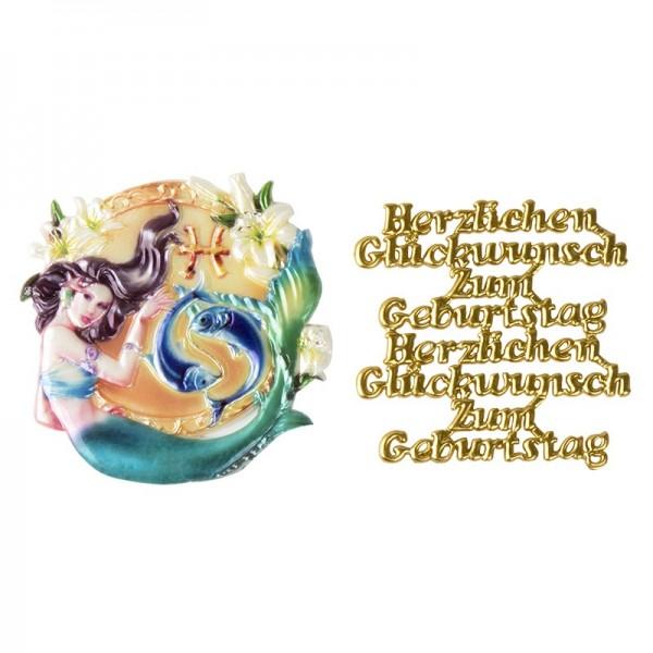 Wachsornamente, Sternzeichen Fische & Herzlichen Glückwunsch, 2 Stück