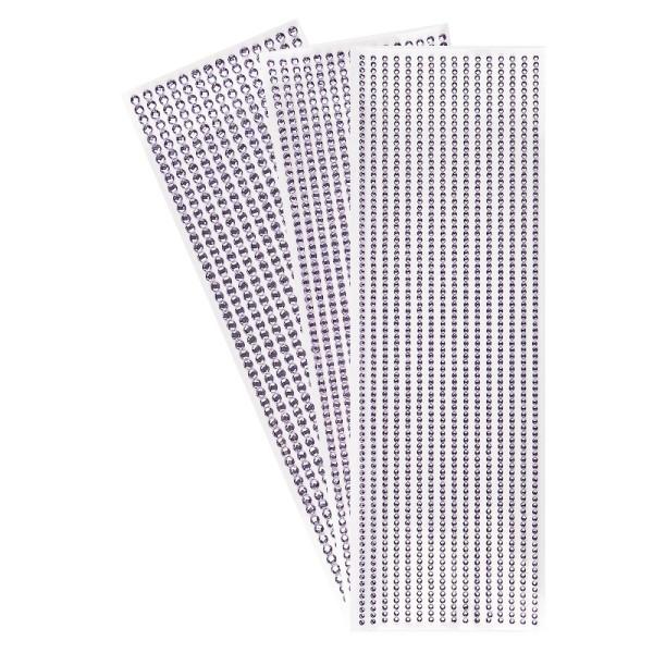 Schmuckstein-Bordüren, rund: Ø 3mm, Ø 4mm, Ø 5mm, selbstklebend, facettiert, flieder, 3 Bogen