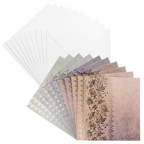 Grußkarten, Unique, Blumenranken, 16cm x 16cm, 5 verschiedene Farben, inkl. Umschläge, 10 Stück