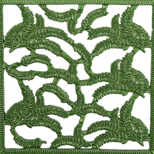Wachsornament-Platte Blätter, 10 x 10 cm, grün, 3er Set