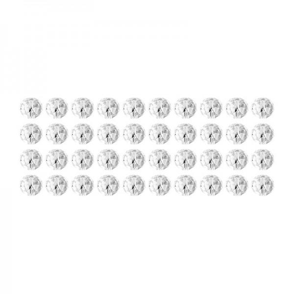 Glaskunst, Perlen, Rondell, 1cm x 0,8cm, facettiert, klar, 40 Stück