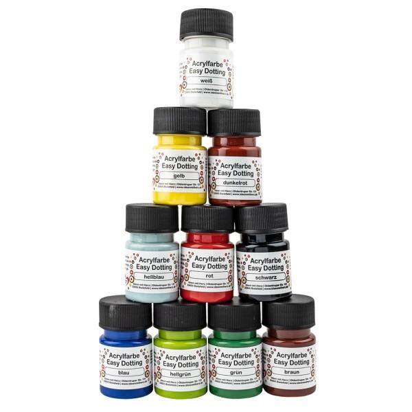 Acrylfarben Easy Dotting, verschiedene Farben, 10 Flaschen à 30ml