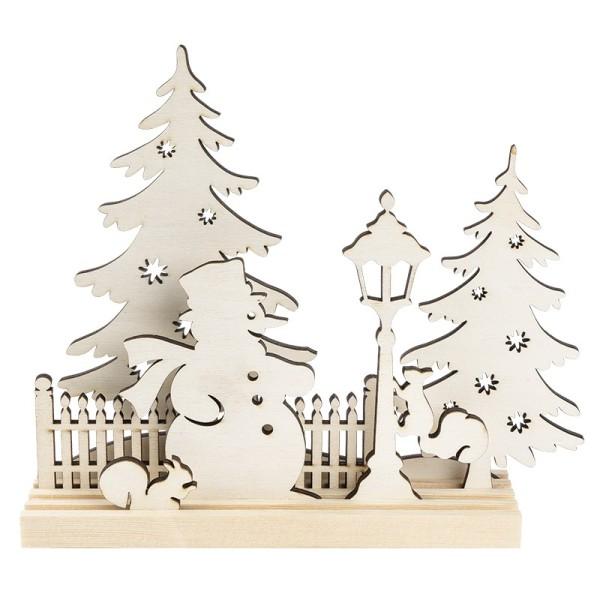 3-D Landschaft zum Stecken, Schneemann & Eichhörnchen, Podest & versch. Holzelemente, 7-teilig