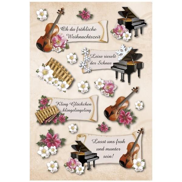 3-D Stickerbogen, Weihnachtsmusik, 12,5 x 18,5 cm
