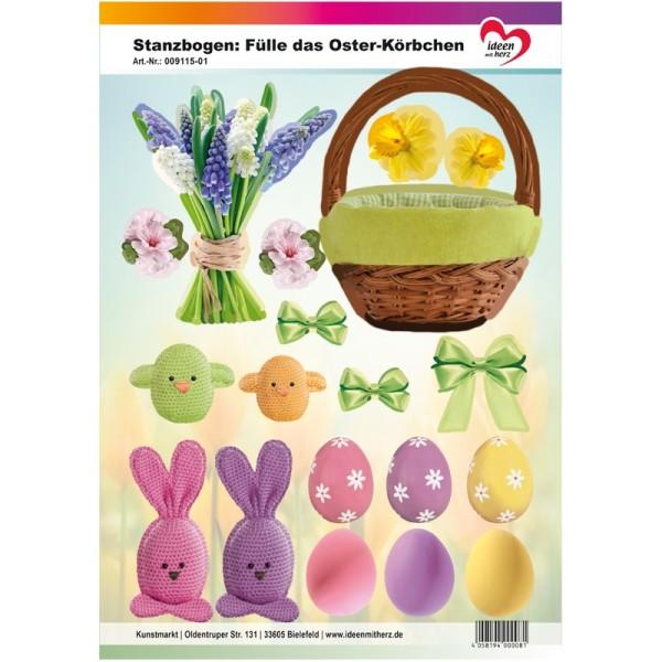 Stanzbogen, Fülle das Oster-Körbchen, DIN A4, grün