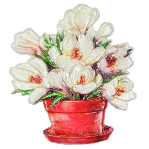 Wachsornament Blumenbouquet 9, farbig, geprägt, 7,5 x 6,5 cm