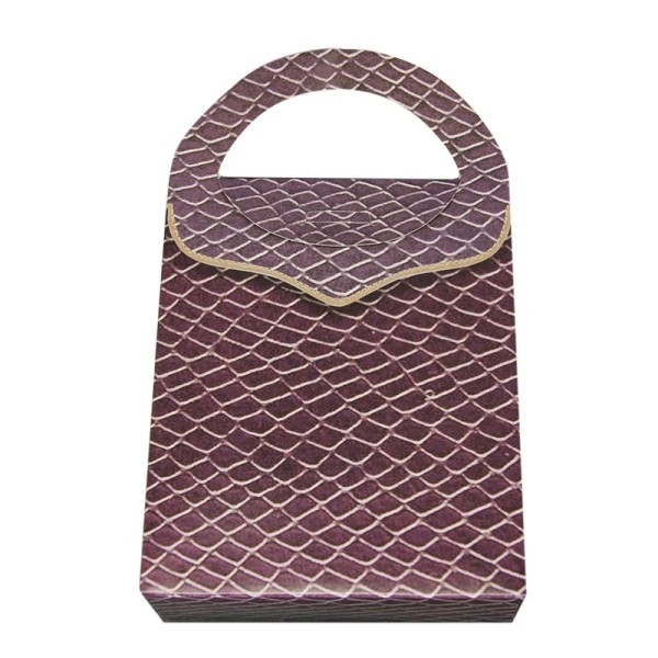 Geschenktasche Lederoptik, 4,5 x 11,5 x 20 cm, violett