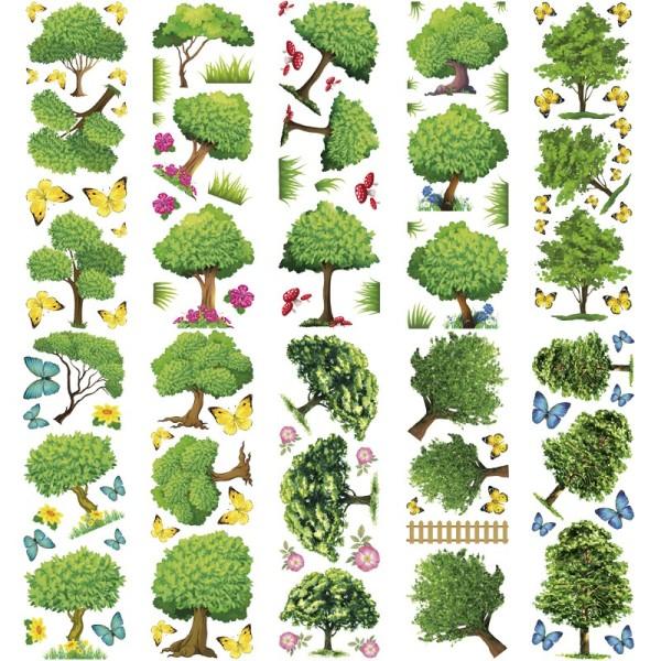 Transparent-Sticker, Bäume, 10cm x 30cm, 10 Bogen