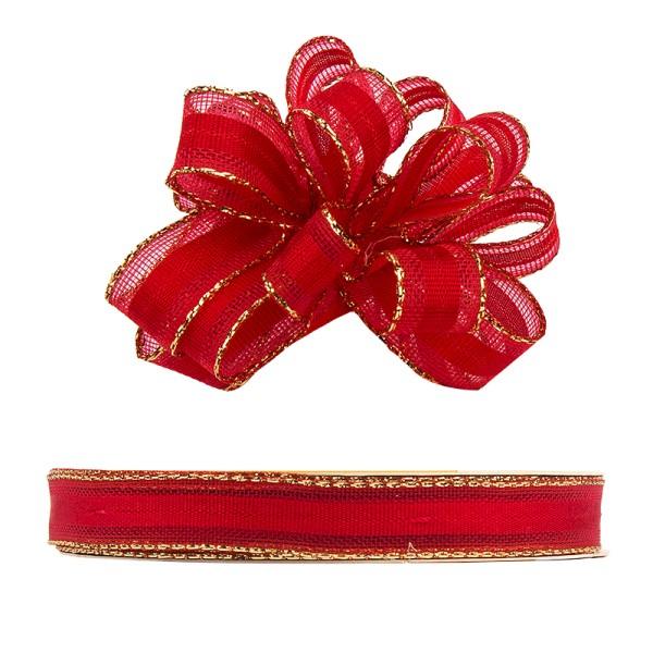 Ziehrüschen-Band, Organza mit Goldkante, 1cm breit, 10m lang, rot