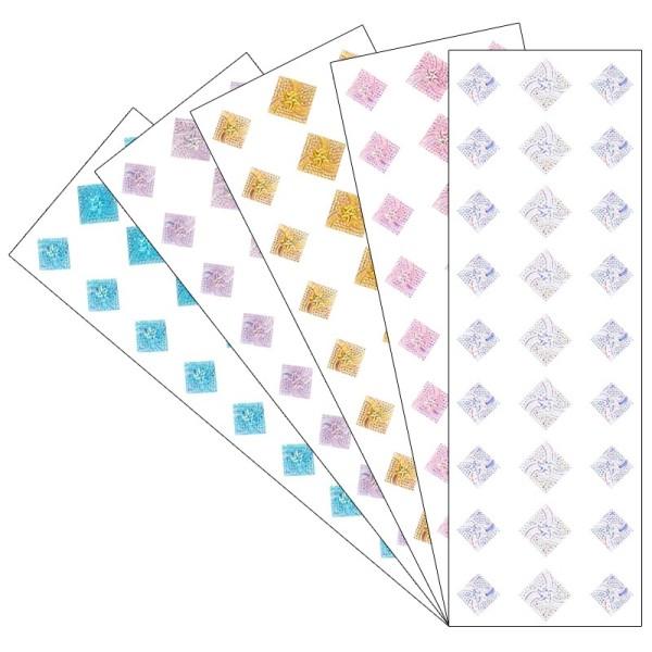 Kristallkunst, Schmuckstein Quadrat 2, 10cm x 30cm, selbstklebend, verschiedene Farben, 5 Stück