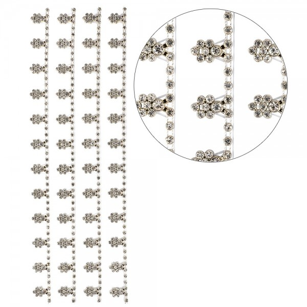 Premium-Schmuck-Bordüren, Blütenranke, selbstklebend, 28cm, mit Glaskristallen, hellgold