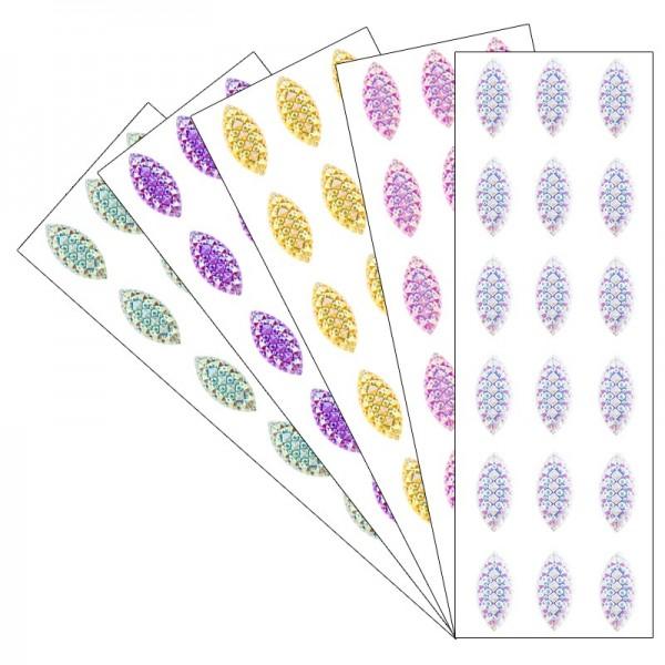 Kristallkunst, Schmuckstein Navette 2, 10cm x 30cm, selbstklebend, verschiedene Farben, 5 Stück