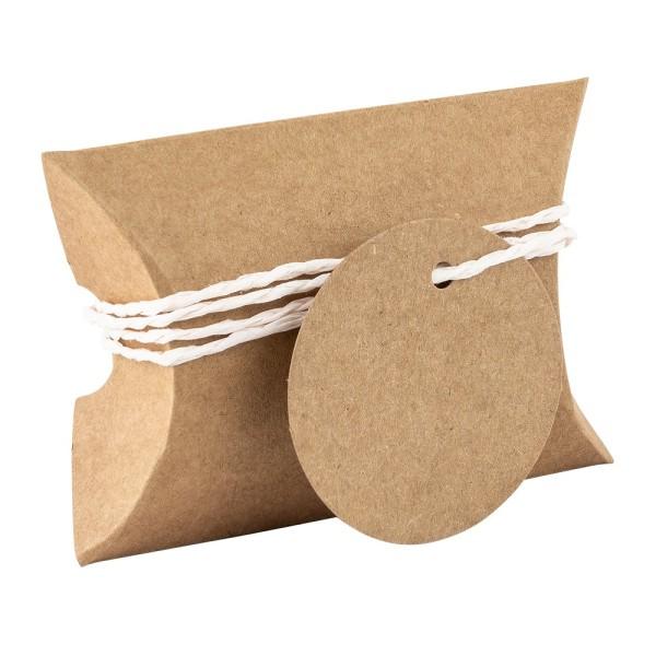 Kraftpapier-Kissentaschen, 6,5cm x 9cm, inkl. Anhänger & pastel-apricot Papierkordel, 50 Stück