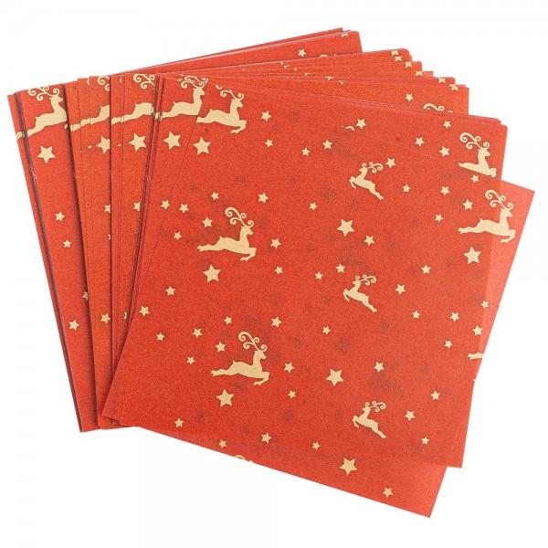 Faltpapiere, transparent, Hirsche, 10cm x 10cm, 110 g/m², rot/gold, 100 Stück