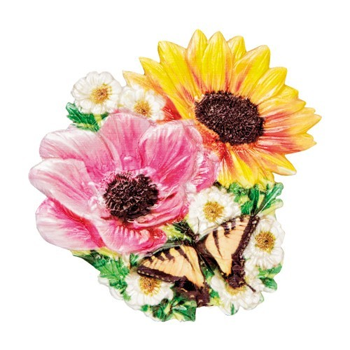 Wachsornament Blumen & Schmetterlinge 10, farbig, geprägt, 7cm