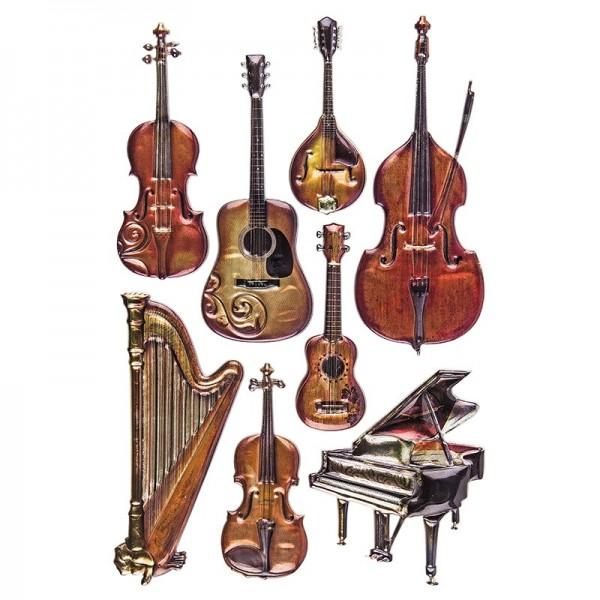 Relief-Sticker Nostalgie, Instrumente 2, 15,5cm x 10,5cm