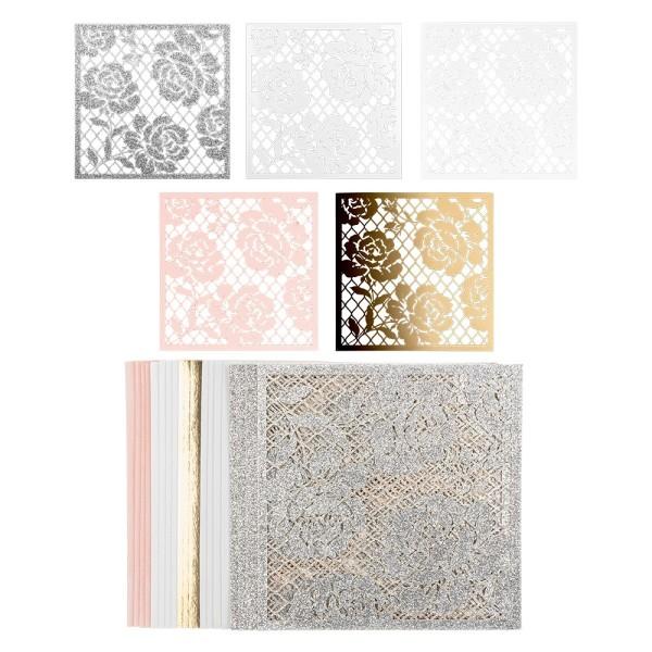 Laser-Kartenaufleger, Rosen 1, 14cm x 14cm, 220 g/m², 5 Farben, 20 Stück