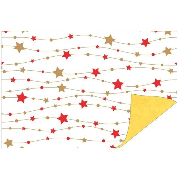 Faltpapiere Duo-Design 23, 10x15 cm, Sterne/goldgelb, 50 Stück