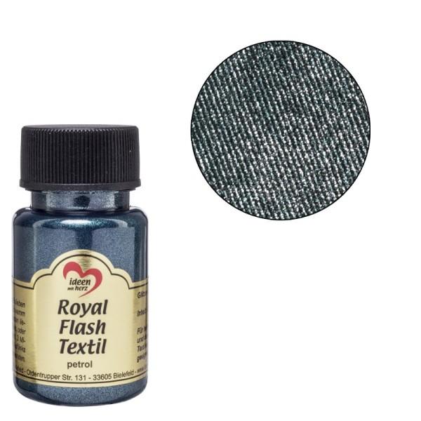 Royal Flash Textil, Glitzer-Metallic-Farbe, 50 ml, petrol