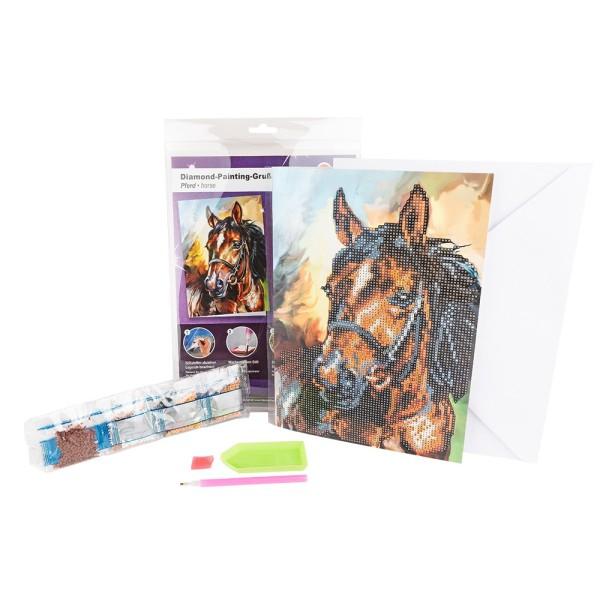 Diamond-Painting-Grußkarte, Pferd, DIN A4, 370g/m², inkl. Umschlag & Werkzeug