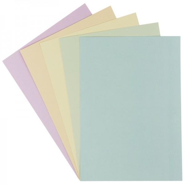 Grußkarten in Leinen-Optik, B6, 5 Farben, Pastelltöne, inkl. Umschläge, 10 Stück