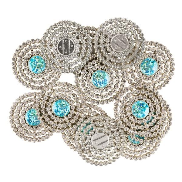 Premium-Schmucksteine, Rund-Ornament 1, Ø 3,5cm, hellgold, mit Glitzerstein & Glaskristall, 12 Stück