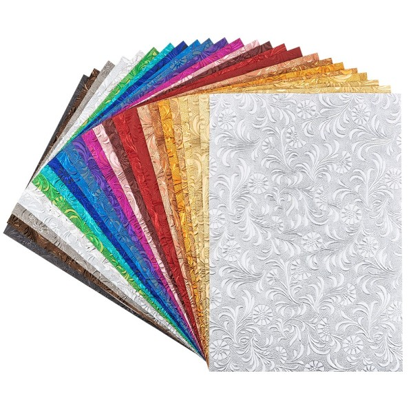 Naturpapiere, Desgin 1, DIN A4, 150 g/m², versch. Farben, handgemacht, veredelt, geprägt, 24 Bogen