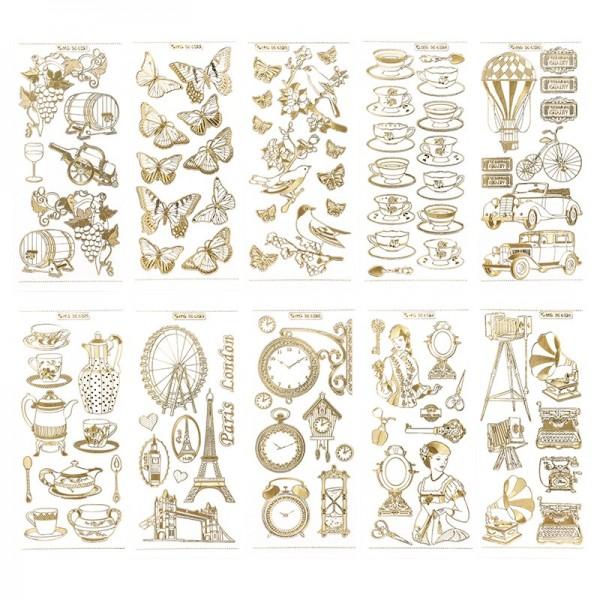 Gravur-Sticker, Nostalgie, transparent/gold, 10 Bogen