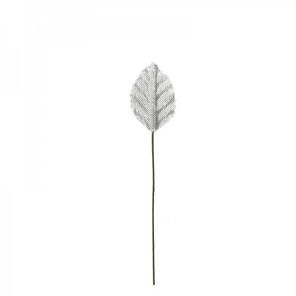Deko-Blätter am Draht, 3cm x 1,8cm, silber, 20 Stück
