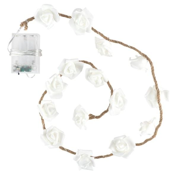 LED-Drahtlichterkette, Rosen an edlem Juteseil, weiß, 15 LED-Lämpchen in Warmweiß, inkl. Timer