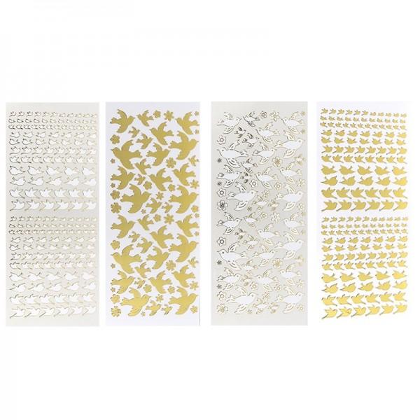 Stickerbogen, Vögel, Spiegelfolie, weiß & gold, 4 Stück