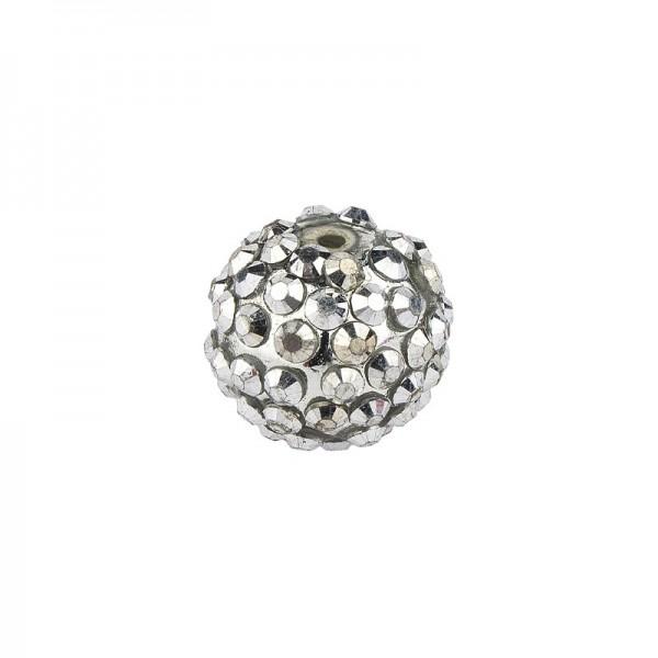 Kristall-Perlen, Ø14 mm, 10 Stück, silber