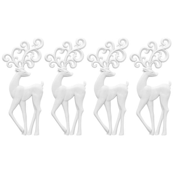 Winter-Deko, Rohling, Hirsch 2, 7cm x 16,5cm, weiß, 4 Stück