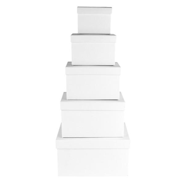 Geschenkboxen, rechteckig, verschiedene Größen, weiß, 5 Stück