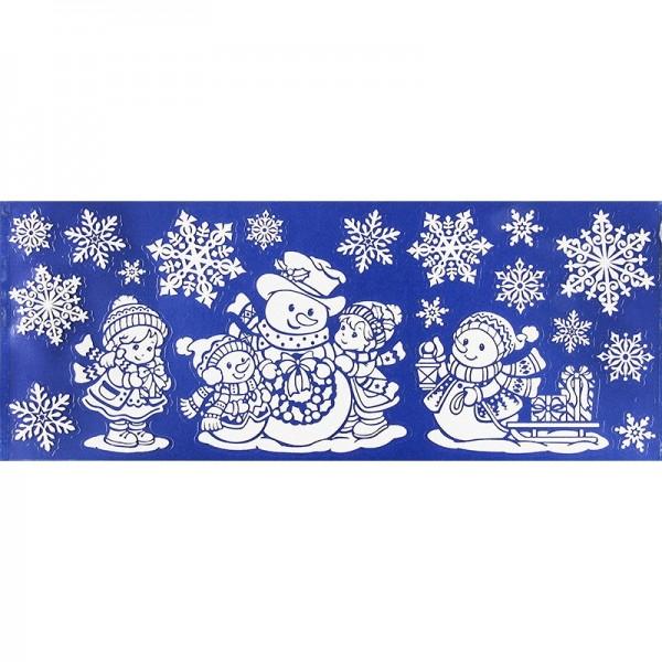 Glimmer-Relief-Sticker XXL, Schneemänner, 20cm x 50cm