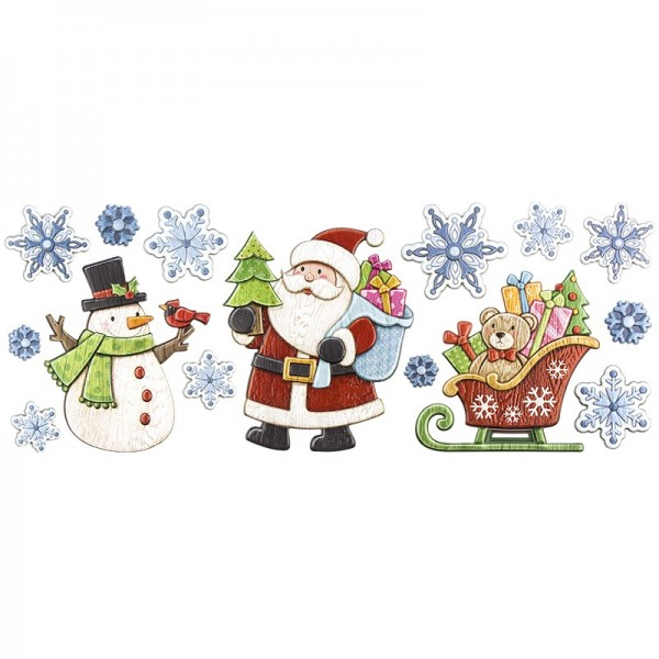 Relief-Sticker, Weihnachtsmann & Co., Holz-Optik, XXL 50x20 cm