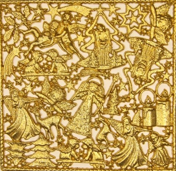Wachsornament-Platte Weihnachten, 16 x 16 cm, gold