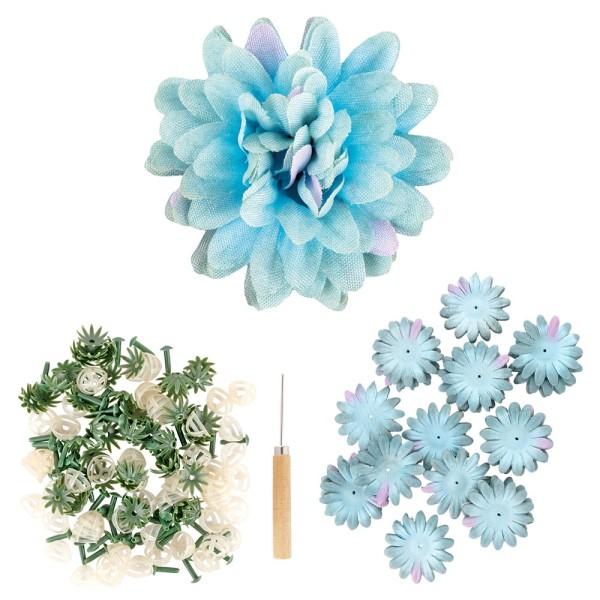 Deko-Blüte Dahlie, zum Selbstgestalten, hellblau, 551-teilig, 50 Stück
