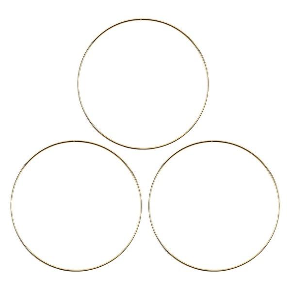 Metallringe, 3mm stark, Ø 20cm, gold, 3 Stück
