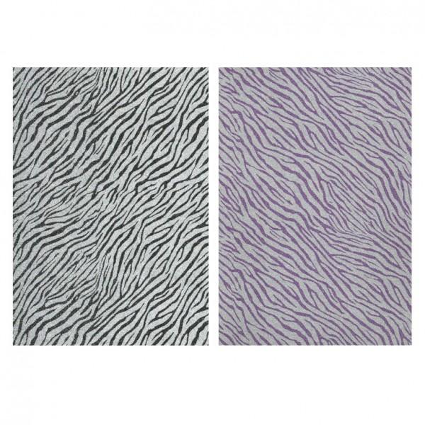 Glitterfolie, Zebra-Design, DIN A5, 10 Stück, schwarz/violett