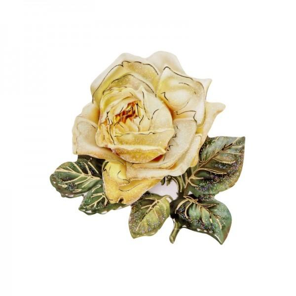 3-D Motiv, gelbe Rose, Gold-Gravur & Glimmerlack, 8 cm