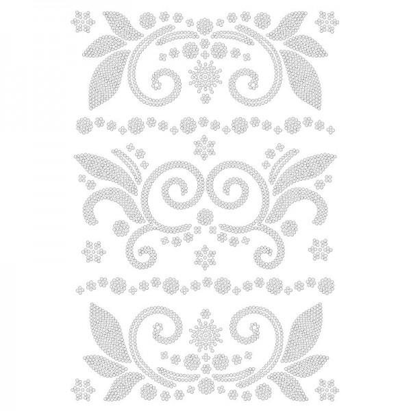 Bügelstrass-Design, DIN A4, klar, Ornamente 7