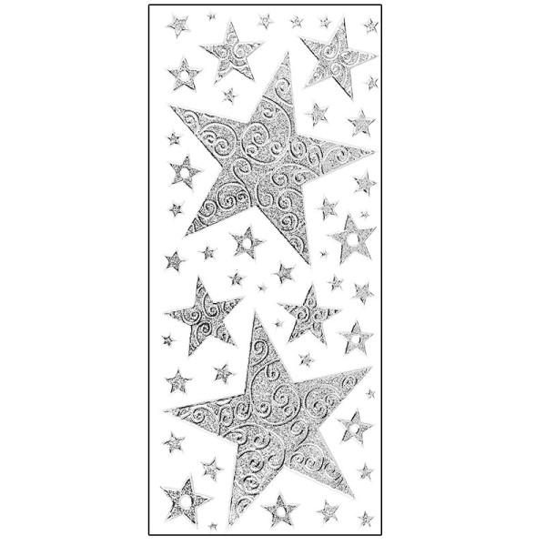 Microglitter-Sticker, Sterne mit Schnörkel-Ornamentik, silber