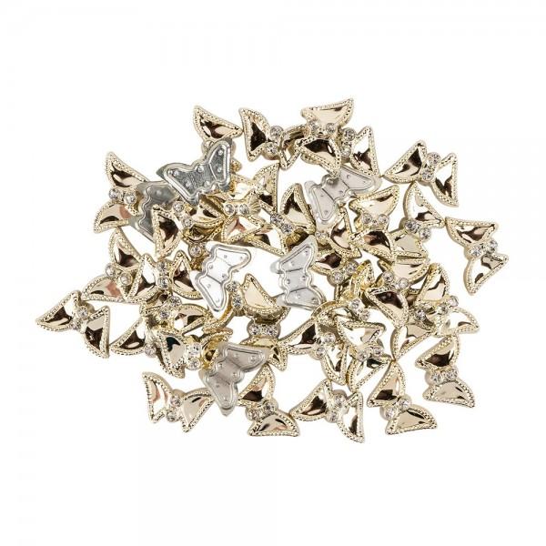 Premium-Schmucksteine, Schmetterling, 2cm x 1,2cm x 0,5cm, hellgold, mit Glaskristallen, 40 Stück